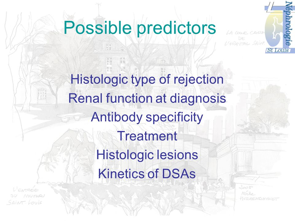 Possible predictors Histologic type of rejection Renal function at diagnosis Antibody specificity Treatment Histologic lesions Kinetics of DSAs