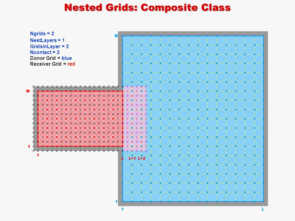 Nested Grids: Composite Class Ngrids = 2 NestLayers = 1 GridsInLayer = 2 Ncontact = 2 Donor Grid = blue Receiver Grid = red