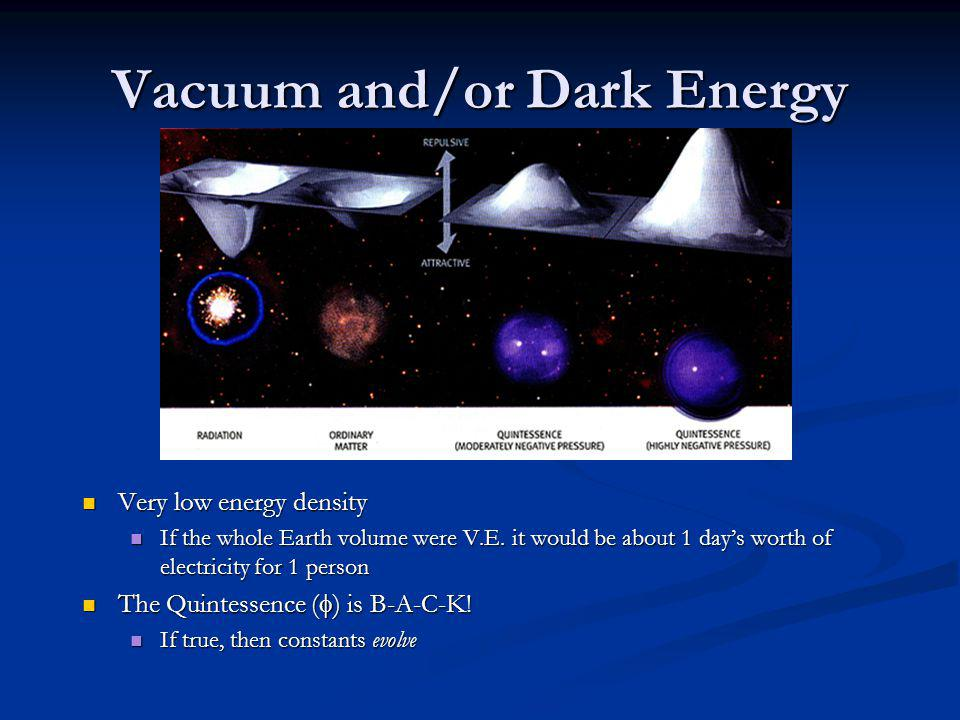 Vacuum and/or Dark Energy Very low energy density Very low energy density If the whole Earth volume were V.E.
