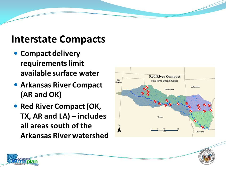Interstate Compacts Compact delivery requirements limit available surface water Arkansas River Compact (AR and OK) Red River Compact (OK, TX, AR and LA) – includes all areas south of the Arkansas River watershed