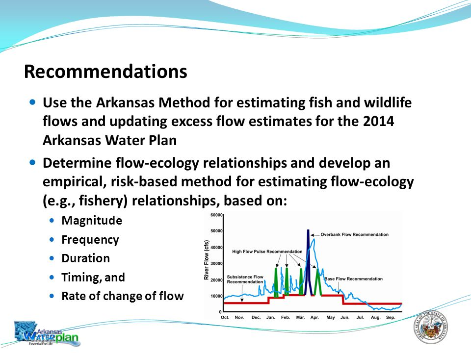 Recommendations Use the Arkansas Method for estimating fish and wildlife flows and updating excess flow estimates for the 2014 Arkansas Water Plan Determine flow-ecology relationships and develop an empirical, risk-based method for estimating flow-ecology (e.g., fishery) relationships, based on: Magnitude Frequency Duration Timing, and Rate of change of flow