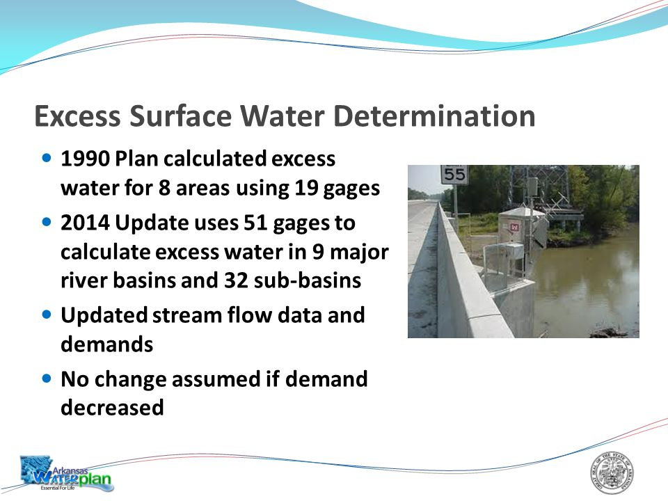 Excess Surface Water Determination 1990 Plan calculated excess water for 8 areas using 19 gages 2014 Update uses 51 gages to calculate excess water in