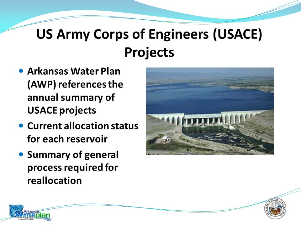 US Army Corps of Engineers (USACE) Projects Arkansas Water Plan (AWP) references the annual summary of USACE projects Current allocation status for each reservoir Summary of general process required for reallocation