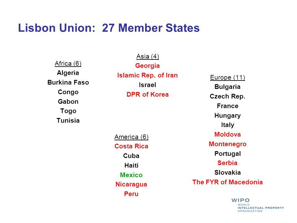 Lisbon Union: 27 Member States Africa (6) Algeria Burkina Faso Congo Gabon Togo Tunisia Asia (4) Georgia Islamic Rep.