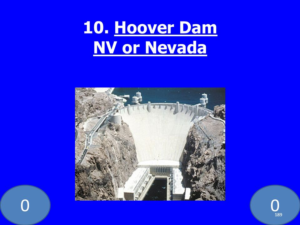 00 10. Hoover Dam NV or Nevada 189