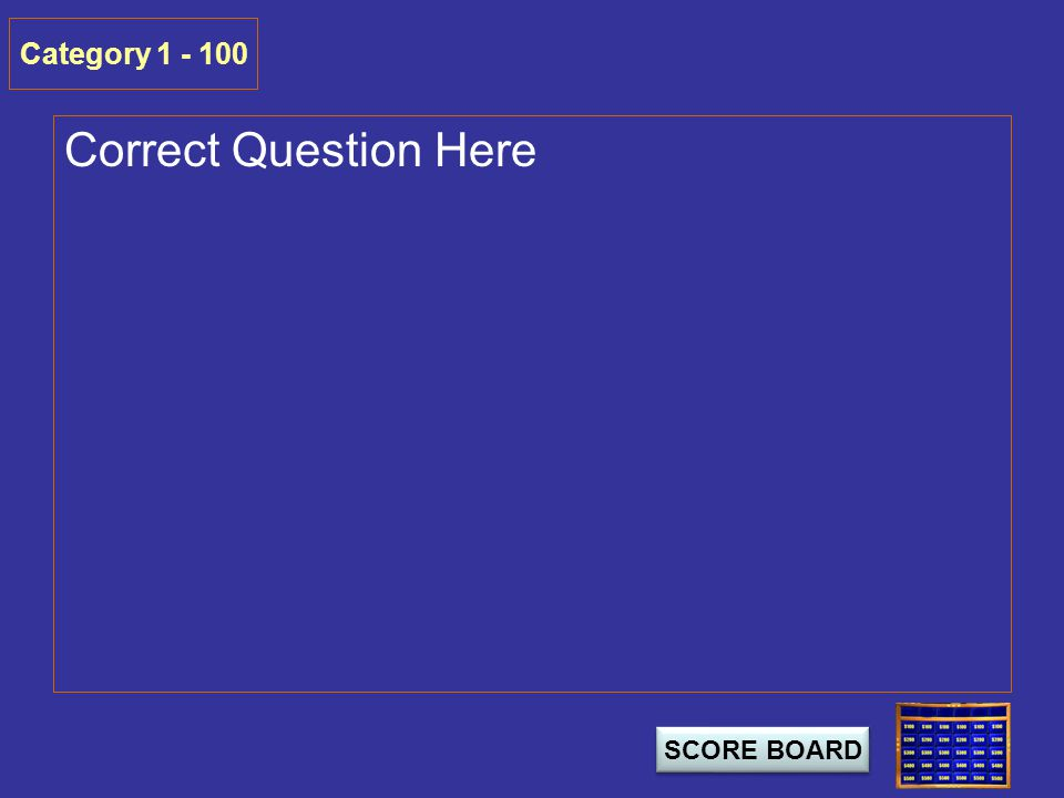 Correct Question Here Category 1 - 100 SCORE BOARD