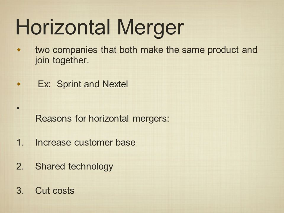 Horizontal Merger two companies that both make the same product and join together.