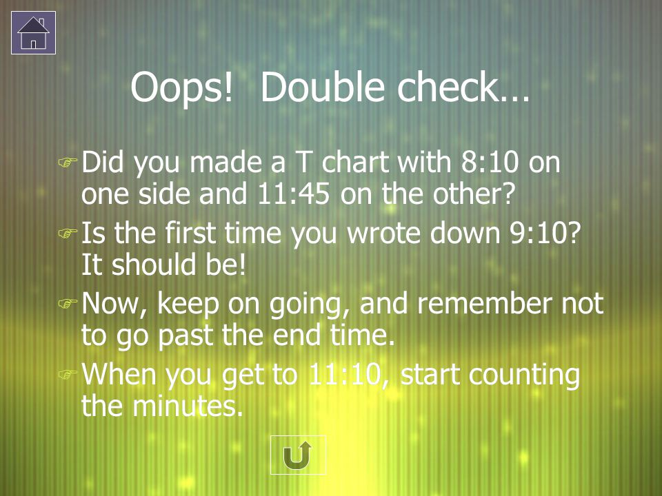 Oops! Double check… F Did you made a T chart with 8:10 on one side and 11:45 on the other? F Is the first time you wrote down 9:10? It should be! F No