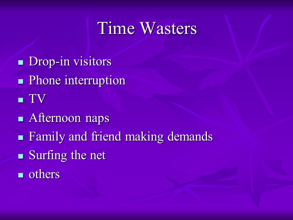 Time Wasters Drop-in visitors Drop-in visitors Phone interruption Phone interruption TV TV Afternoon naps Afternoon naps Family and friend making demands Family and friend making demands Surfing the net Surfing the net others others