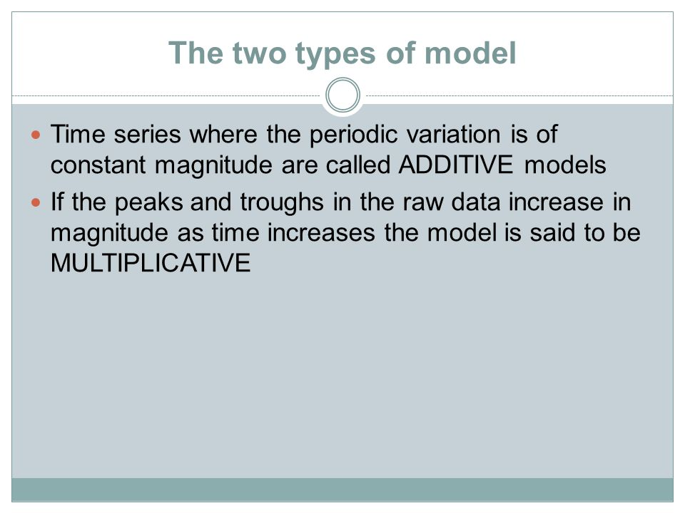 The two types of model Time series where the periodic variation is of constant magnitude are called ADDITIVE models If the peaks and troughs in the raw data increase in magnitude as time increases the model is said to be MULTIPLICATIVE