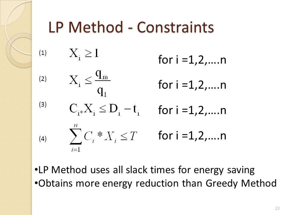 LP Method - Constraints for i =1,2,….n (1) (2) (3) (4) LP Method uses all slack times for energy saving Obtains more energy reduction than Greedy Meth