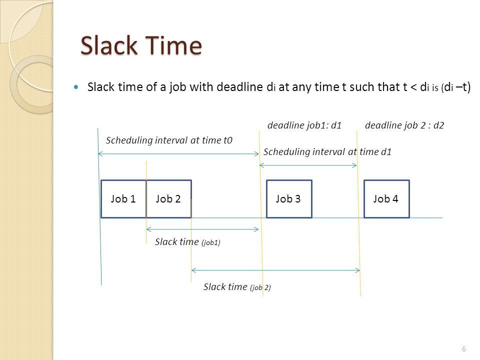 Slack Time Slack time of a job with deadline d i at any time t such that t < d i is ( d i –t) Job 1Job 2Job 3Job 4 deadline job1: d1deadline job 2 : d2 Slack time (job1) Slack time (job 2) Scheduling interval at time t0 Scheduling interval at time d1 6