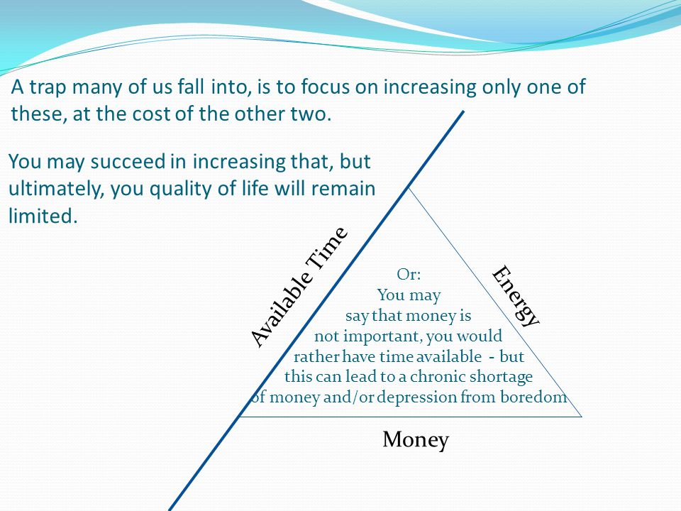 A trap many of us fall into, is to focus on increasing only one of these, at the cost of the other two. Available Time Energy Money You may succeed in