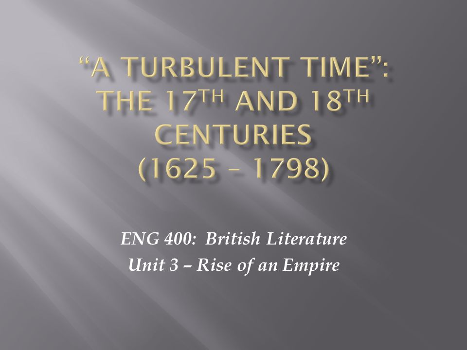 ENG 400: British Literature Unit 3 – Rise of an Empire