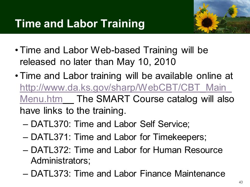 43 Time and Labor Training Time and Labor Web-based Training will be released no later than May 10, 2010 Time and Labor training will be available online at http://www.da.ks.gov/sharp/WebCBT/CBT_Main_ Menu.htm The SMART Course catalog will also have links to the training.