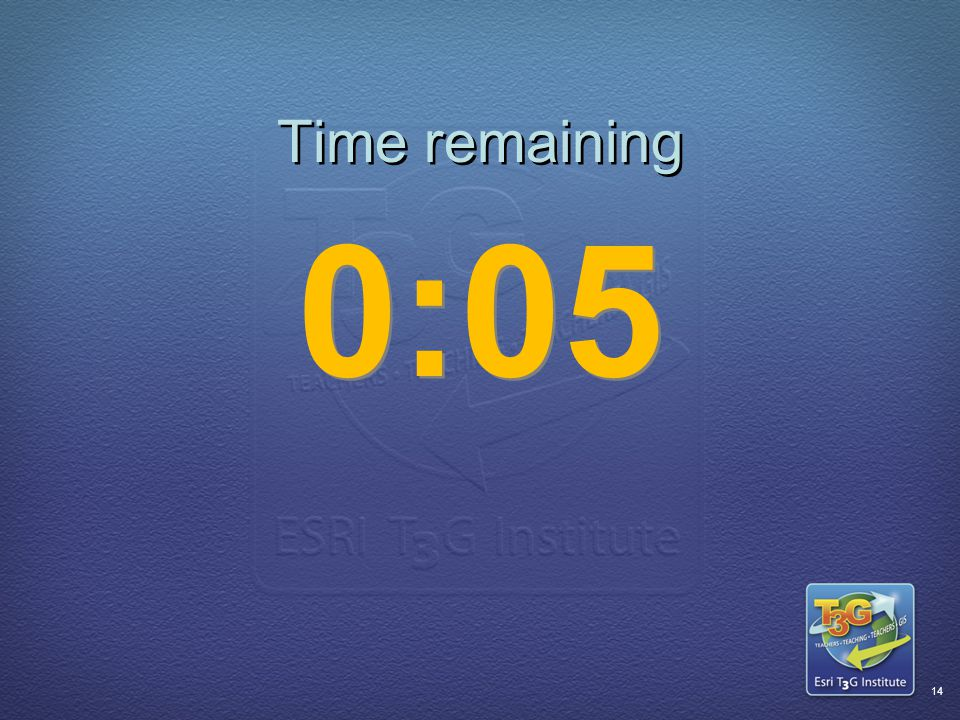 ESRI T3G Institute13 Time remaining 0:06