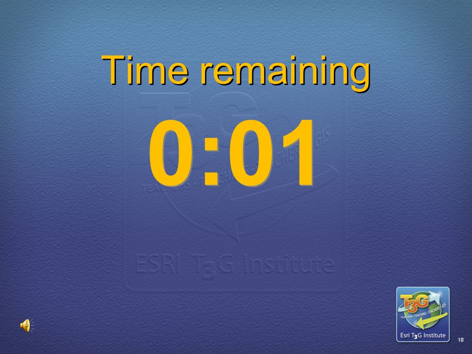 ESRI T3G Institute17 Time remaining 0:02