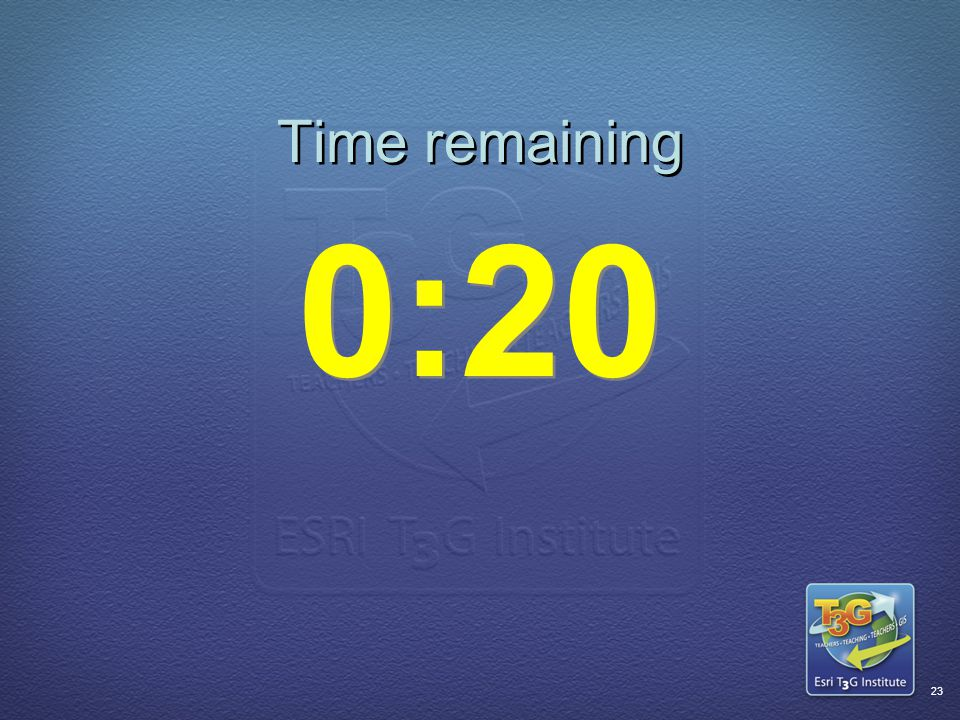 ESRI T3G Institute22 Time remaining 0:30
