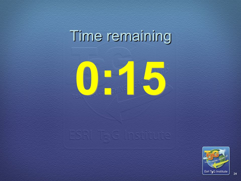 ESRI T3G Institute23 Time remaining 0:20