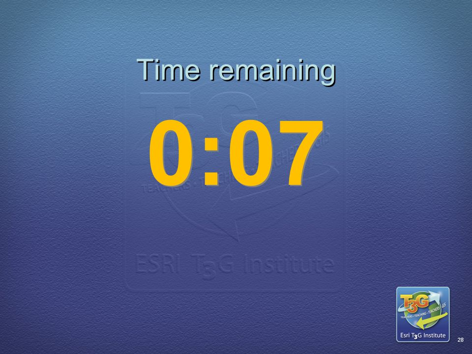 ESRI T3G Institute27 Time remaining 0:08