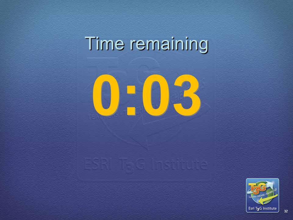 ESRI T3G Institute31 Time remaining 0:04