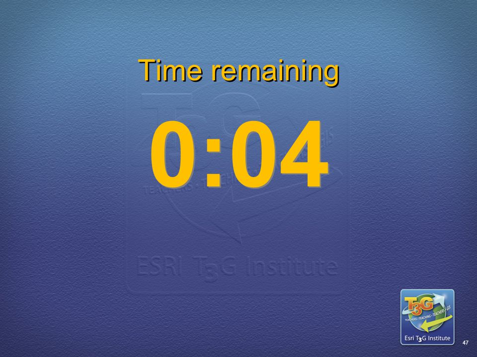 ESRI T3G Institute46 Time remaining 0:05