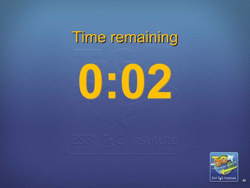 ESRI T3G Institute48 Time remaining 0:03