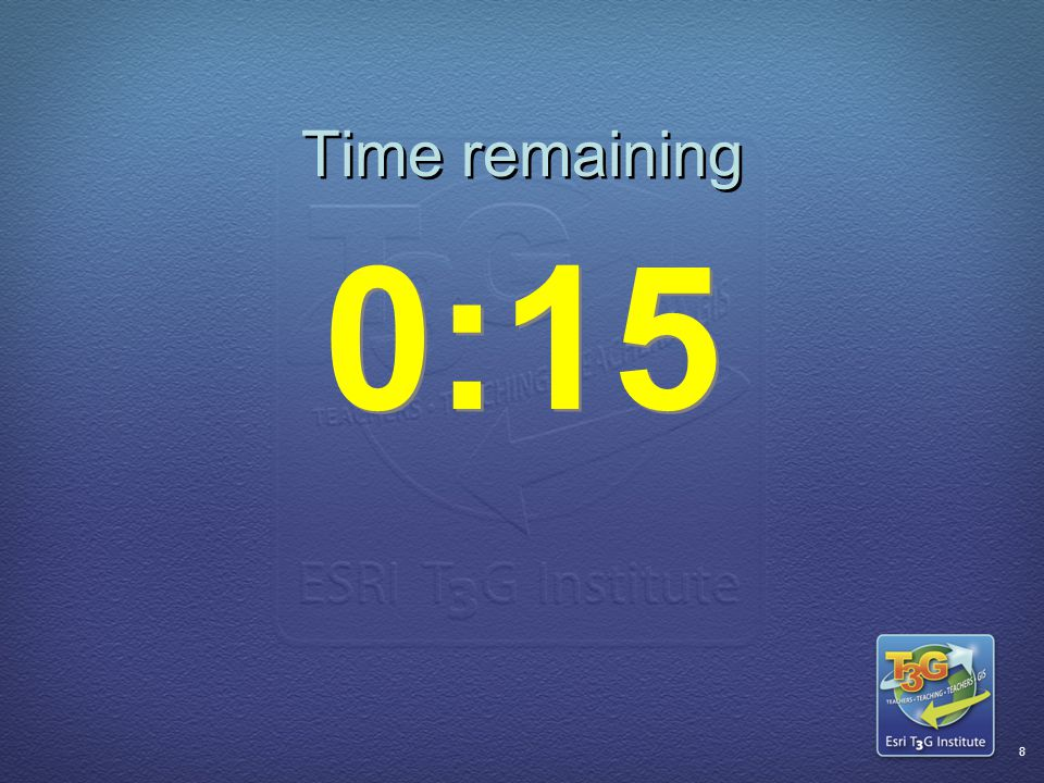ESRI T3G Institute7 Time remaining 0:20