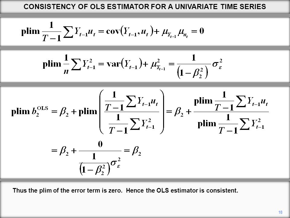 18 CONSISTENCY OF OLS ESTIMATOR FOR A UNIVARIATE TIME SERIES Thus the plim of the error term is zero.
