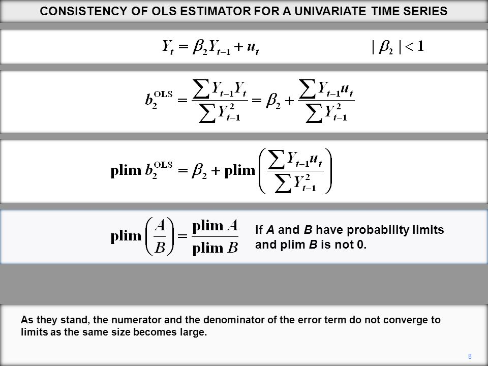 8 CONSISTENCY OF OLS ESTIMATOR FOR A UNIVARIATE TIME SERIES if A and B have probability limits and plim B is not 0.