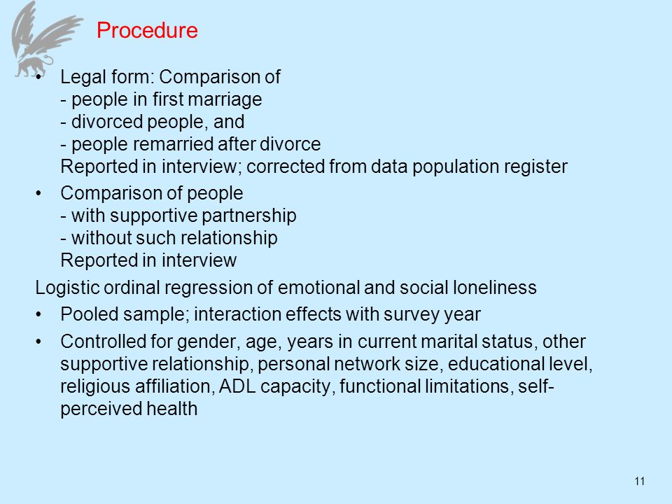 11 Procedure Legal form: Comparison of - people in first marriage - divorced people, and - people remarried after divorce Reported in interview; corrected from data population register Comparison of people - with supportive partnership - without such relationship Reported in interview Logistic ordinal regression of emotional and social loneliness Pooled sample; interaction effects with survey year Controlled for gender, age, years in current marital status, other supportive relationship, personal network size, educational level, religious affiliation, ADL capacity, functional limitations, self- perceived health
