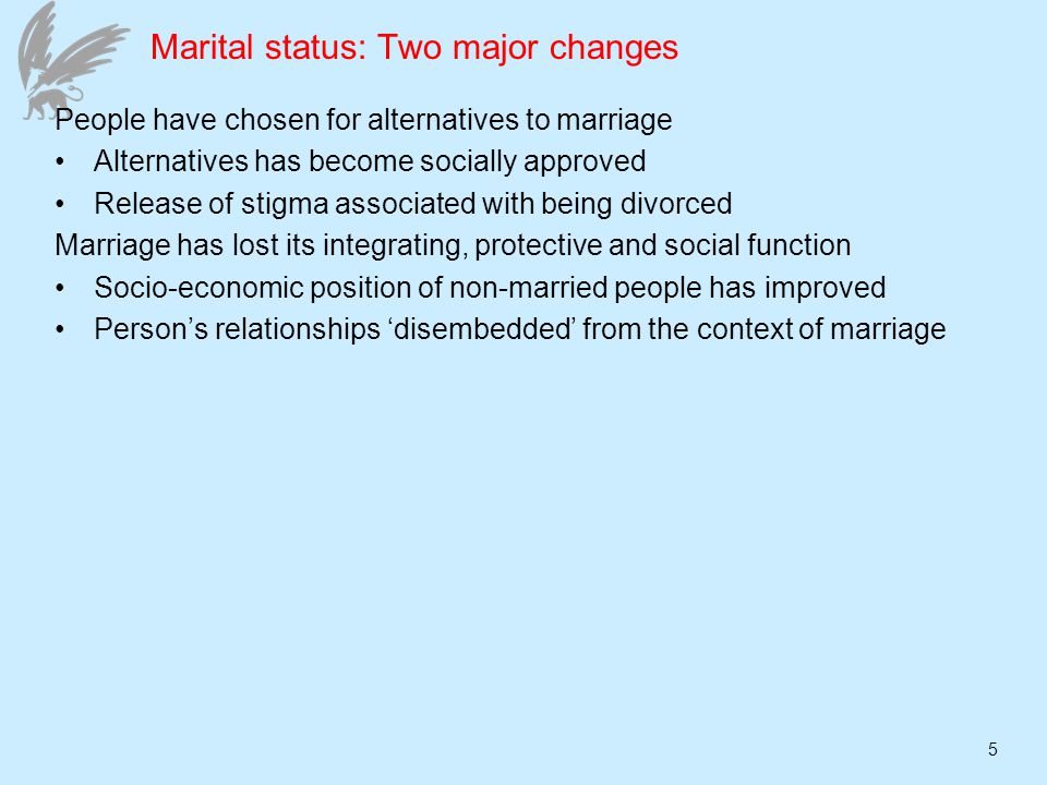 5 Marital status: Two major changes People have chosen for alternatives to marriage Alternatives has become socially approved Release of stigma associated with being divorced Marriage has lost its integrating, protective and social function Socio-economic position of non-married people has improved Persons relationships disembedded from the context of marriage