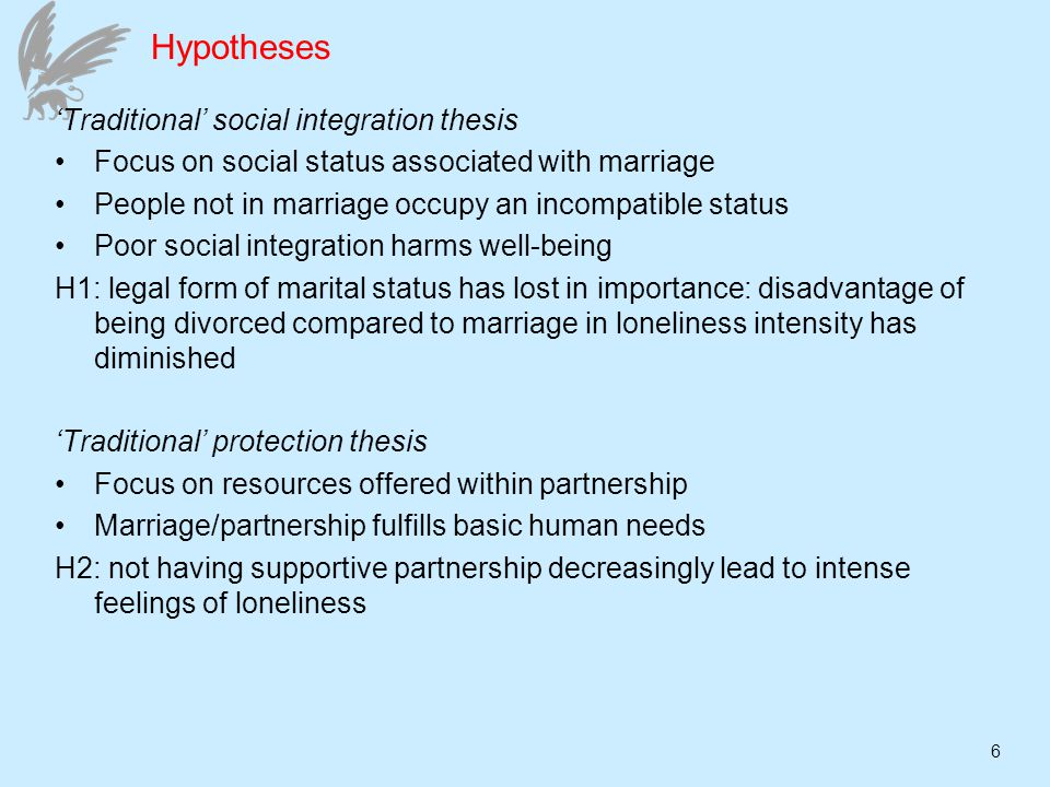 6 Hypotheses Traditional social integration thesis Focus on social status associated with marriage People not in marriage occupy an incompatible status Poor social integration harms well-being H1: legal form of marital status has lost in importance: disadvantage of being divorced compared to marriage in loneliness intensity has diminished Traditional protection thesis Focus on resources offered within partnership Marriage/partnership fulfills basic human needs H2: not having supportive partnership decreasingly lead to intense feelings of loneliness