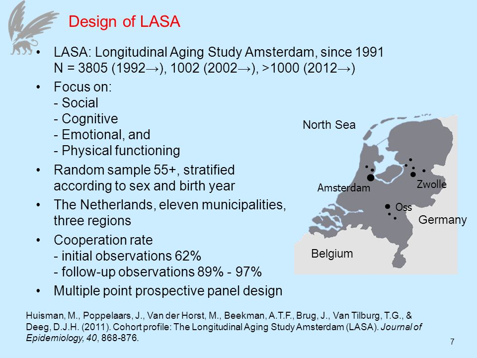 7 Design of LASA LASA: Longitudinal Aging Study Amsterdam, since 1991 N = 3805 (1992), 1002 (2002), >1000 (2012) Focus on: - Social - Cognitive - Emotional, and - Physical functioning Random sample 55+, stratified according to sex and birth year The Netherlands, eleven municipalities, three regions Cooperation rate - initial observations 62% - follow-up observations 89% - 97% Multiple point prospective panel design Amsterdam Zwolle Oss Germany North Sea Belgium Huisman, M., Poppelaars, J., Van der Horst, M., Beekman, A.T.F., Brug, J., Van Tilburg, T.G., & Deeg, D.J.H.
