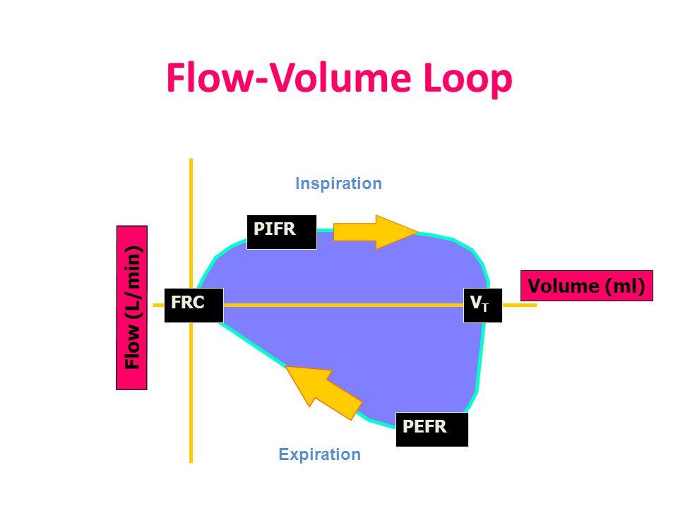 Flow-Volume Loop Volume (ml) PEFR FRC Inspiration Expiration Flow (L/min) PIFR VTVT