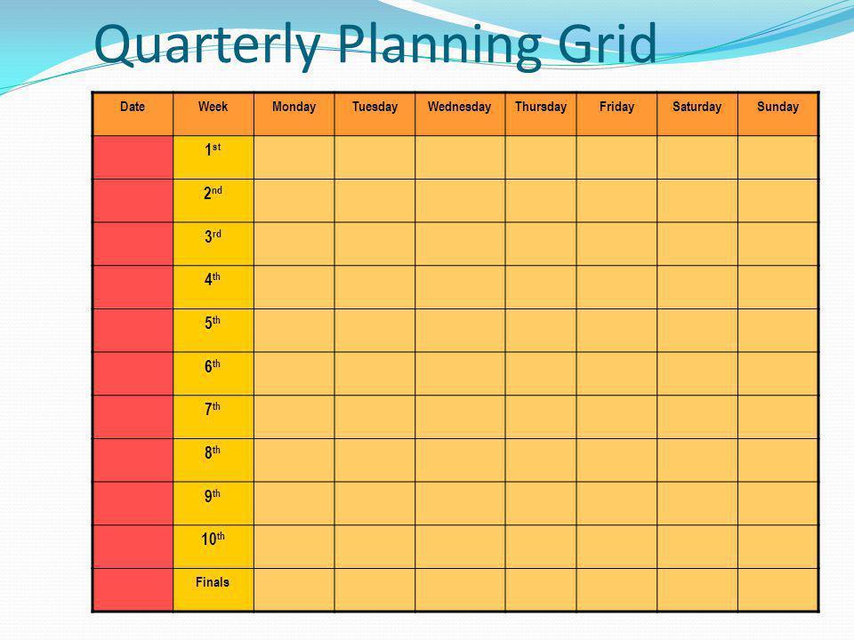 Quarterly Planning Grid DateWeekMondayTuesdayWednesdayThursdayFridaySaturdaySunday 1 st 2 nd 3 rd 4 th 5 th 6 th 7 th 8 th 9 th 10 th Finals