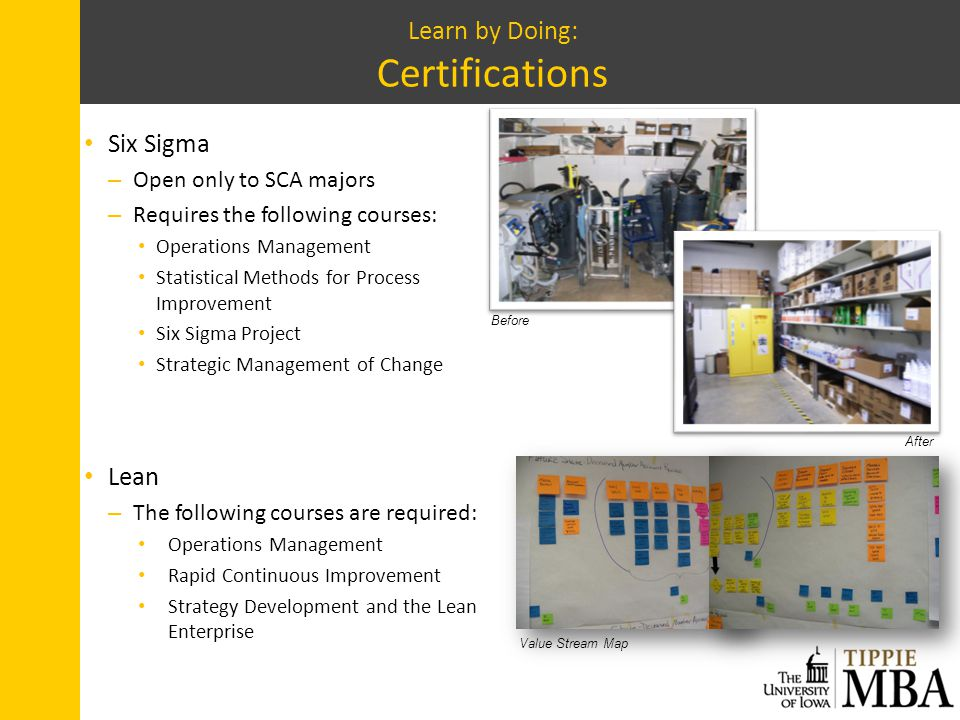 Learn by Doing: Certifications Six Sigma – Open only to SCA majors – Requires the following courses: Operations Management Statistical Methods for Pro