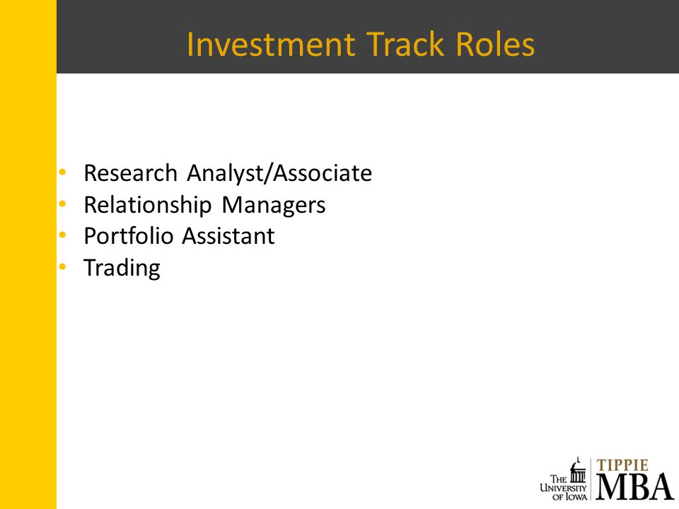 Investment Track Roles Research Analyst/Associate Relationship Managers Portfolio Assistant Trading
