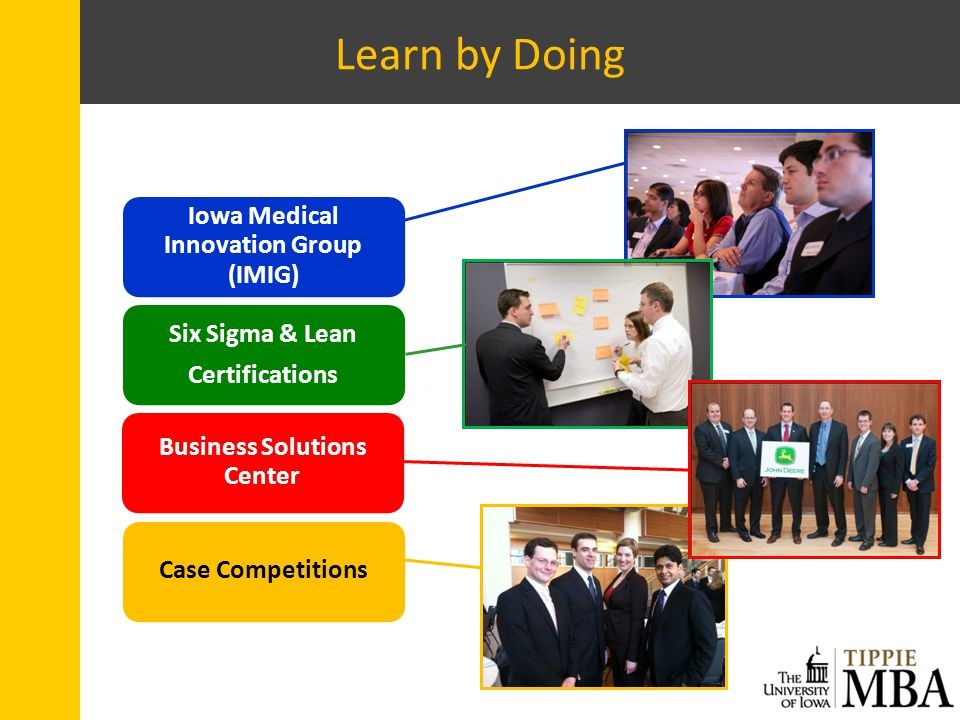 Learn by Doing Iowa Medical Innovation Group (IMIG) Six Sigma & Lean Certifications Business Solutions Center Case Competitions