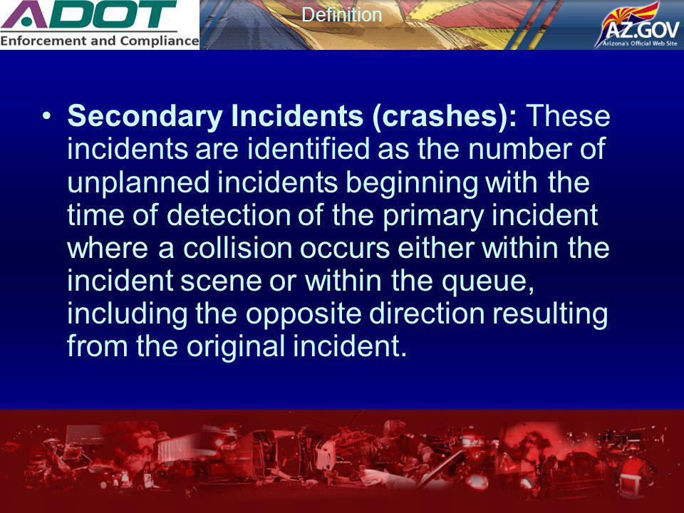 Definition Secondary Incidents (crashes): These incidents are identified as the number of unplanned incidents beginning with the time of detection of