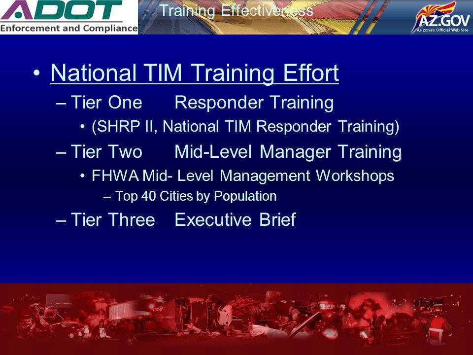 Training Effectiveness National TIM Training Effort –Tier OneResponder Training (SHRP II, National TIM Responder Training) –Tier TwoMid-Level Manager