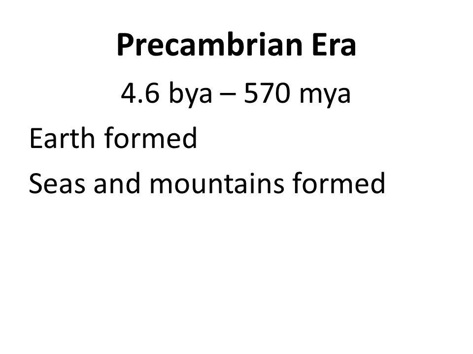 Precambrian Era 4.6 bya – 570 mya Earth formed