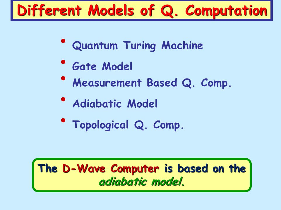 The D-Wave Computer is based on the adiabatic model. Different Models of Q. Computation Gate Model Quantum Turing Machine Measurement Based Q. Comp. A