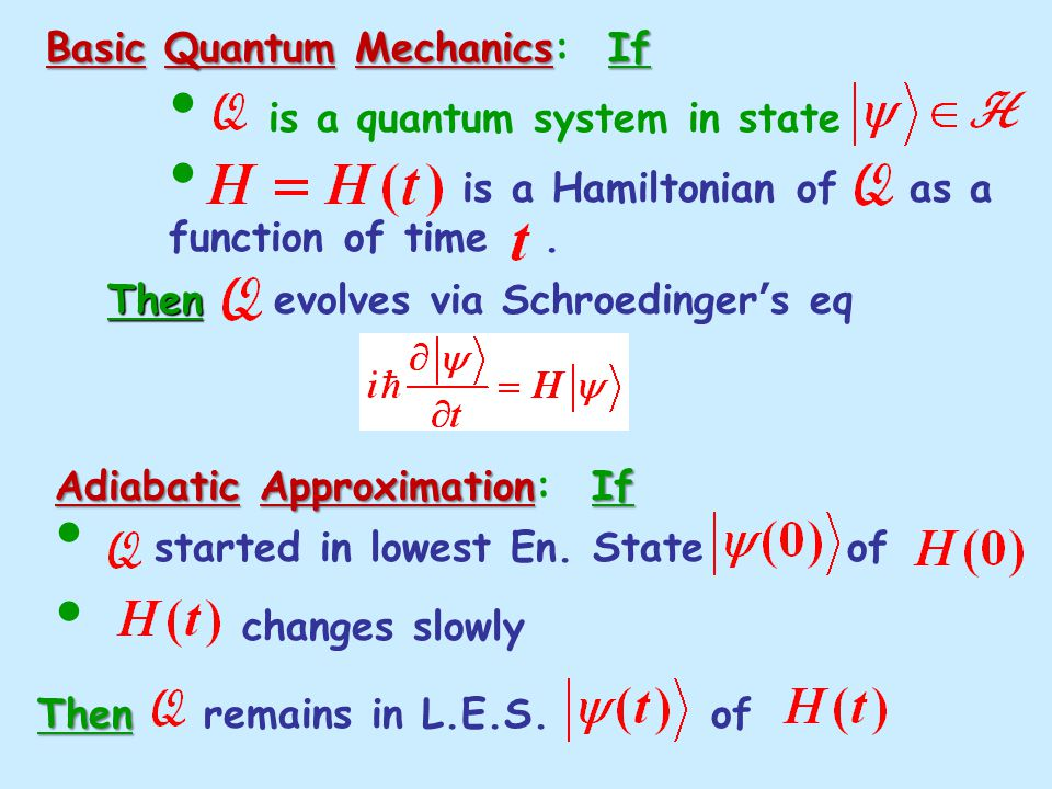 Basic Quantum MechanicsIf Basic Quantum Mechanics: If is a quantum system in state is a Hamiltonian of as a function of time.
