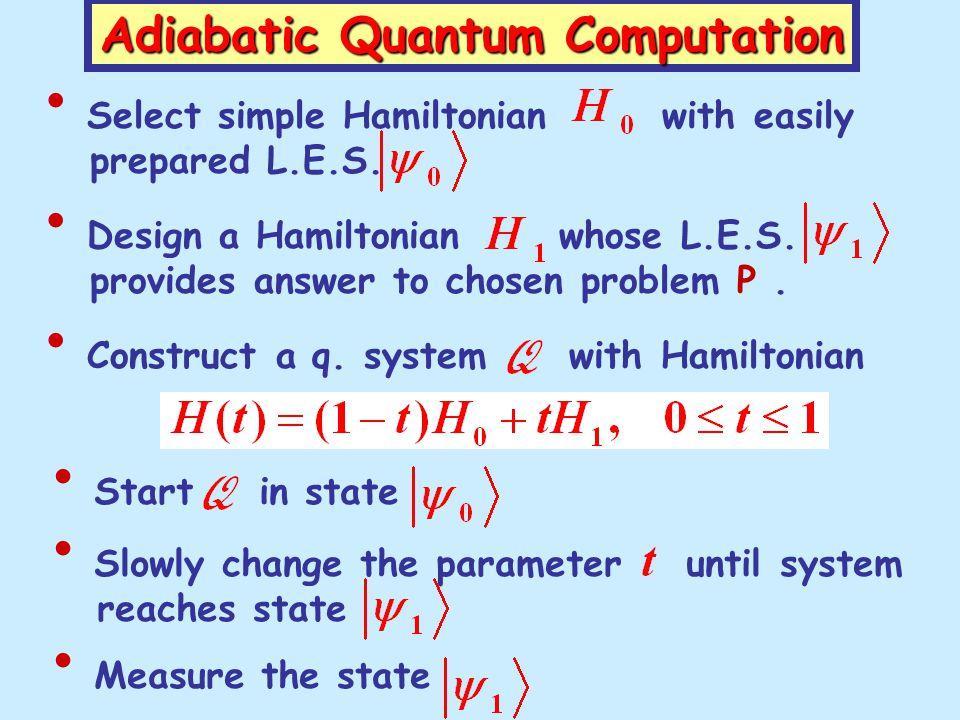 Adiabatic Quantum Computation Select simple Hamiltonian with easily prepared L.E.S.
