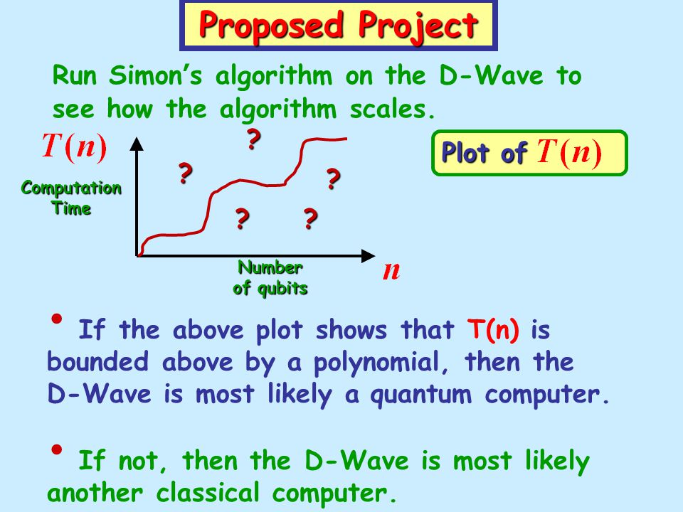 Proposed Project Run Simons algorithm on the D-Wave to see how the algorithm scales. If the above plot shows that T(n) is bounded above by a polynomia