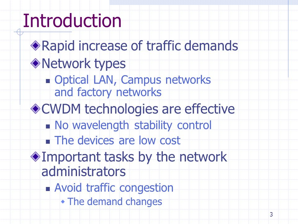 3 Introduction Rapid increase of traffic demands Network types Optical LAN, Campus networks and factory networks CWDM technologies are effective No wavelength stability control The devices are low cost Important tasks by the network administrators Avoid traffic congestion The demand changes