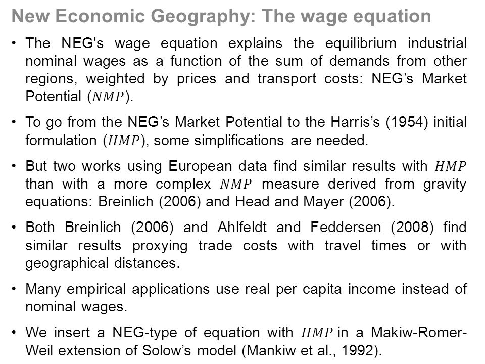 New Economic Geography: The wage equation
