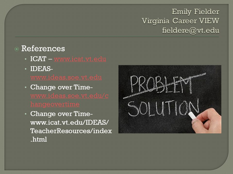 References ICAT – www.icat.vt.eduwww.icat.vt.edu IDEAS- www.ideas.soe.vt.edu www.ideas.soe.vt.edu Change over Time- www.ideas.soe.vt.edu/c hangeovertime www.ideas.soe.vt.edu/c hangeovertime Change over Time- www.icat.vt.edu/IDEAS/ TeacherResources/index.html