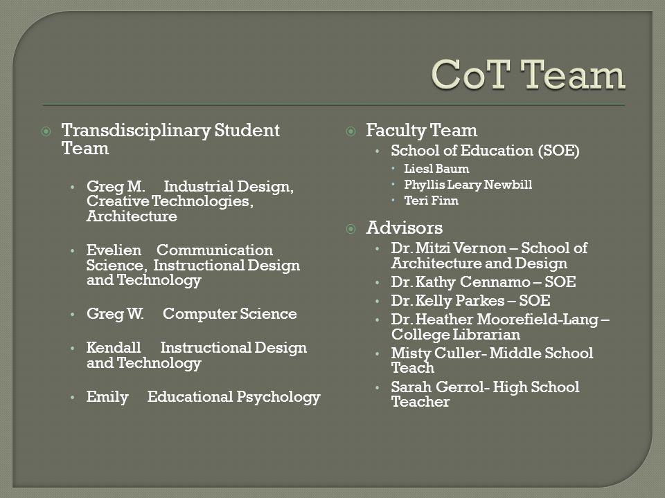 Transdisciplinary Student Team Greg M.